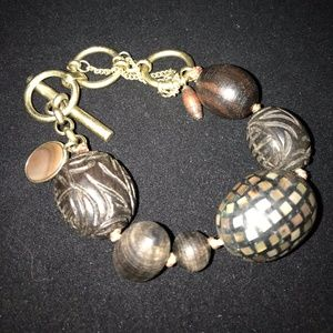 Kenneth Cole goldtone and brown bead bracelet